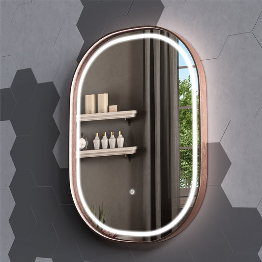 Rose Gold Frame LED Bathroom Vanity Mirrors, 24 X 36 Inch, 2160LM, Defogger, Touch Sensor Switch, CCT Remembrance