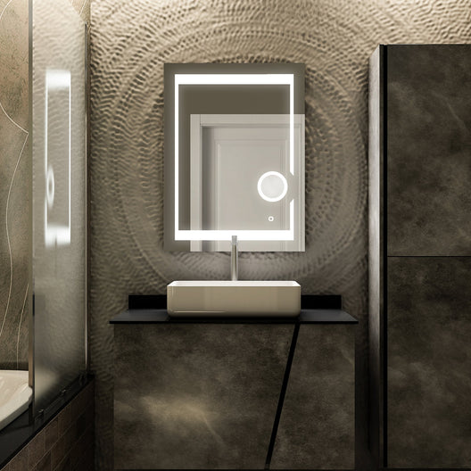 24x32 Inch LED Bathroom Mirror with Magnifying Mirror, CCT Remembrance, Defogger, Auspice Style