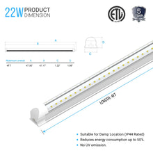 Load image into Gallery viewer, T8 4ft LED Tube 22W V Shape Integrated 2 Row 6500k Clear