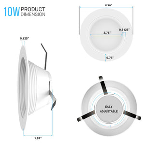 4 inch Retrofit LED Downlights Fixture / Can Lights, 10W, 650LM, Dimmable Recessed Ceiling Light, CRI 90+