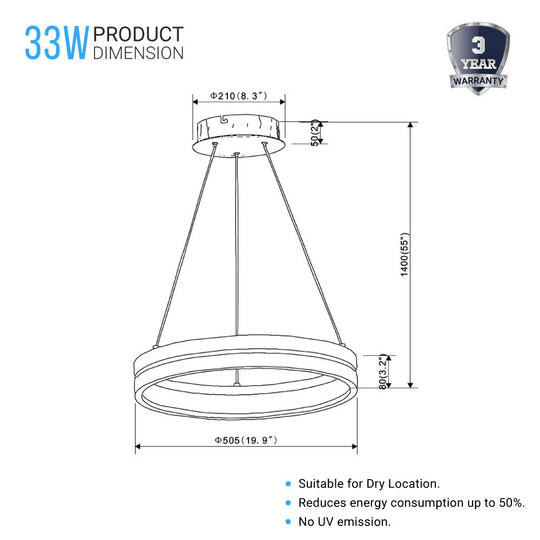 Round Chandelier - Matte Black + Wood Finish - 33W - 3000K (Warm White) - 961 Lumens - Dimmable Pendant