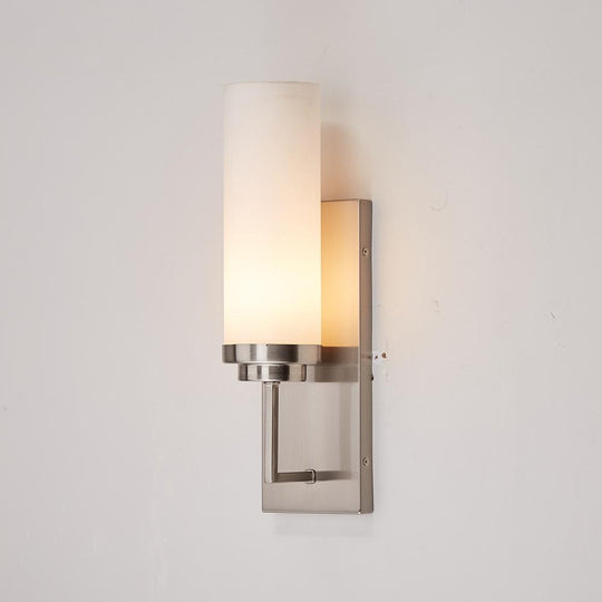 Decorative Wall Lamp Fixture, Wall Mount Sconce Lighting, Brushed Nickel with Opal Glass Shade