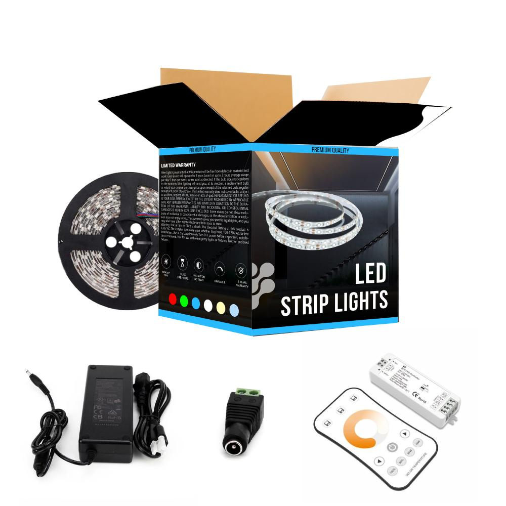 Tunable White Flexible LED Strip Lights, 12V, High-CRI, IP20, 378 Lumens/ft with Power Supply and Controller (KIT)