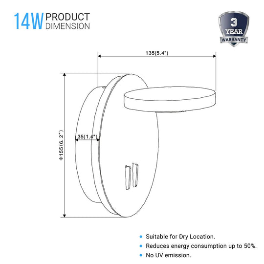 Modern Sconce Lighting - 14W - 3000K (Warm white) - 558LM - Industrial Design - Dimmable - Diameter 6.2 inch