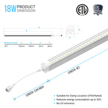 Load image into Gallery viewer, 4ft T8 LED Cooler Tube Light, 18w, 5000k, 2160 LM, Clear, V Shape, Freezer LED Lights