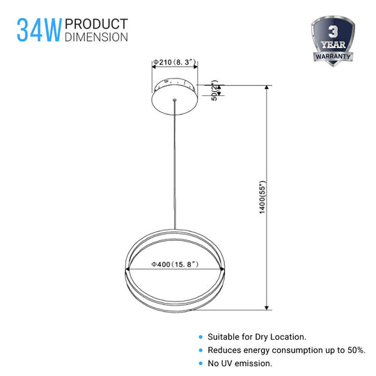 Ring 1-Light LED Unique Design Pendant - 34W - 3000K (Warm White) - 1028LM - Dimmable - Aluminum Body Finish - Pendant Mounting
