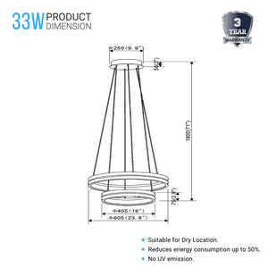 78W, Double Ring Chandelier, 3000K, 1501 Lumens, Wooden + Matte Black Chandelier, dimmable pendant lights