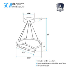 Load image into Gallery viewer, 2-Ring, 60W, 3000K, 2800LM, Circular LED Chandelier Lights, Dimmable, 3 Years Warranty