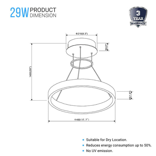 1-Ring - Modern Nature White LED Pendant Light - 29W - 3000K - 1532LM - Dimmable - Diameter 17.7''×55''