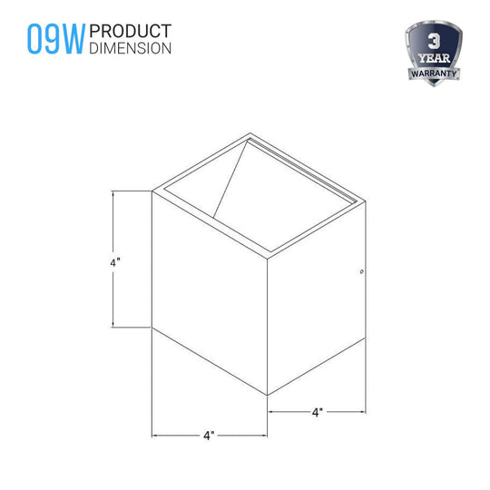 9W Square Shape LED Wall Sconce, 3000K (Warm White), 500 Lumens, Wall Mounting Light, Dimmable