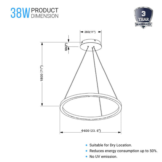 LED Ring Chandelier - 1-Ring - 38W - 3000K - 1512LM - Dimmable - Diameter 23.6''×71''