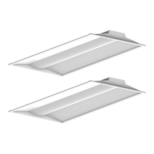 2x4 LED Troffer Light Fixtures, 50W, Dimmable, 5000K, 2-Pack, Overhead Lighting For Offices, Hallways