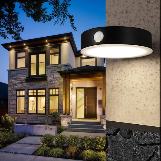 Smart LED Solar Wall Lamp with PIR Sensor, Round, HY06WSRB
