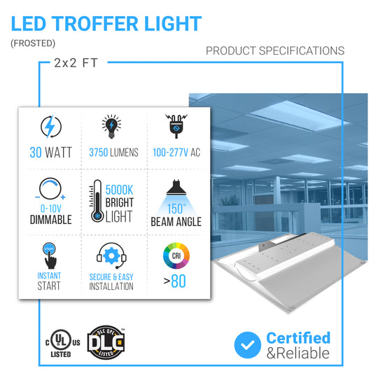LED Troffer 2X2 30W 5000K Dimmable (2-Pack)