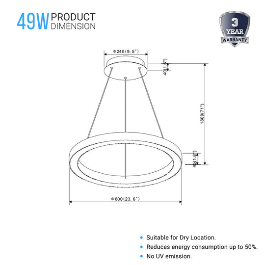 Modern Round Chandeliers, 49W, 3000K, 2450LM, Dimmable, unique design Shade, Pendant Mounting, CRI: 80+, Aluminum Body Finish