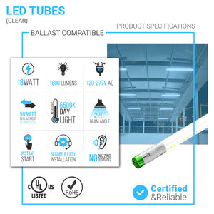 T8 4ft LED Tube Light Glass, 18W, 6500K, Clear, T8 LED Plug and Play, Ballast Compatible (Check Compatibility List; Not Compatible with all ballasts)