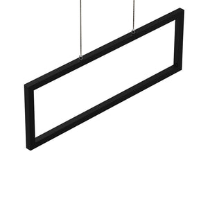 1-Light, Modern Rectangular Chandelier LED For Office Kitchen Dining Room with Matte Black Body Finish, 33W, 3000K, 1650LM, LED Pendant Lighting - Dimmable