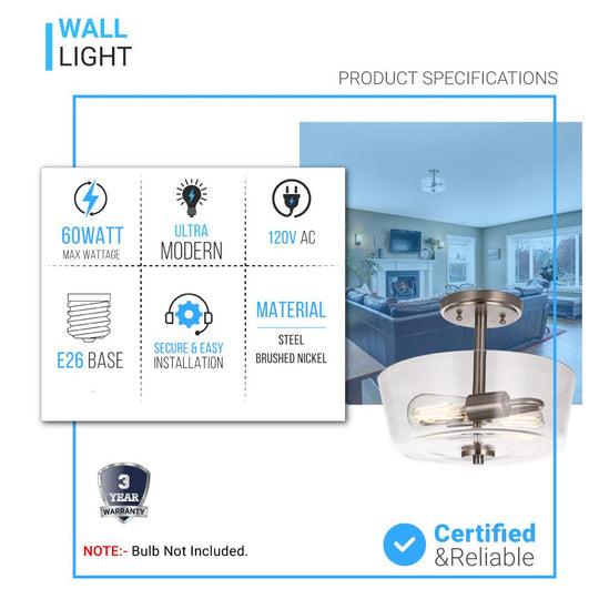 2-Lights, Round, Semi Flush Mount Lights - Stylish Ceiling Light, UL Listed for Damp Location, E26 Base, 3 Years Warranty