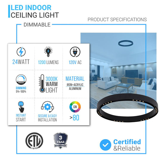 Ring Flush Mount LED Lighting Fixture - 16W/24W - 3000K - 800LM/1200LM - Close to Ceiling lights - Dimmable