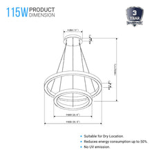 Load image into Gallery viewer, Modern - Double Ring 115W, 3000K, 5750LM, Chandelier With Unique Shade, Dimmable, Pendant Mounting, Aluminum Body Finish