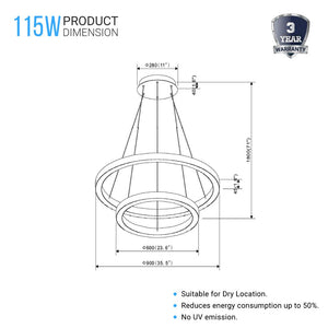 Modern - Double Ring 115W, 3000K, 5750LM, Chandelier With Unique Shade, Dimmable, Pendant Mounting, Aluminum Body Finish