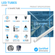 Load image into Gallery viewer, T8 8ft, 60 Watt V Shape LED Integrated Tube 6500K Clear, 210W Equivalent, 7200 Lumens, 100-277V, Plug and Play, Commercial LED Lighting