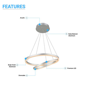 2-Ring, 60W, 3000K, 2800LM, Circular LED Chandelier Lights, Dimmable, 3 Years Warranty