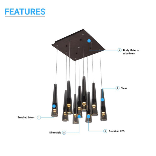 9-Lights - Multi Light Pendant with Smoke grey Body Finish -45W - 3000K - 2250LM - Dimmable - For Kitchen Island Dining Room Living Room Cafe Pub