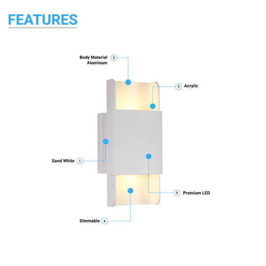 Indoor Wall Sconces - 11W - 3000K (Warm White) - CRI: 80+ - Dimmable. Living Room Wall Lighting