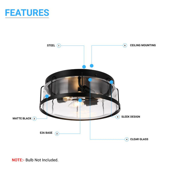 Drum Shape Flush Mount Ceiling Light, Matte Black Finish, Ceiling Lighting Fixture for Kitchen, Hallway, Bathroom, E26 Base