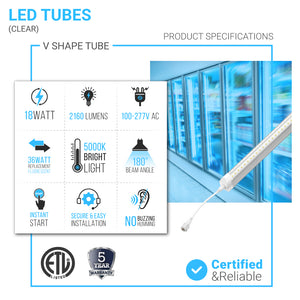 4ft T8 LED Cooler Tube Light, 18w, 5000k, 2160 LM, Clear, V Shape, Freezer LED Lights