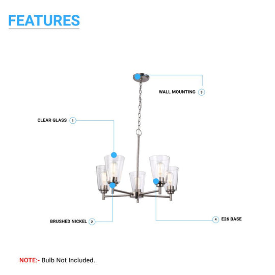 Flared Shape Chandelier Lighting Fixture with Clear Glass Shades, E26 Base, UL Listed for Damp Location, 3 Years Warranty