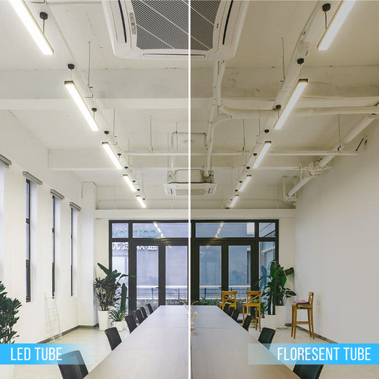 T8 4ft 18W LED Glass Tube 4000K 18 Watt 2400 Lumens Hybrid and Clear (Works with & Without Ballast)
