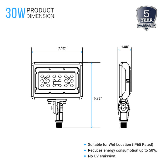 LED Flood Light product Dimension
