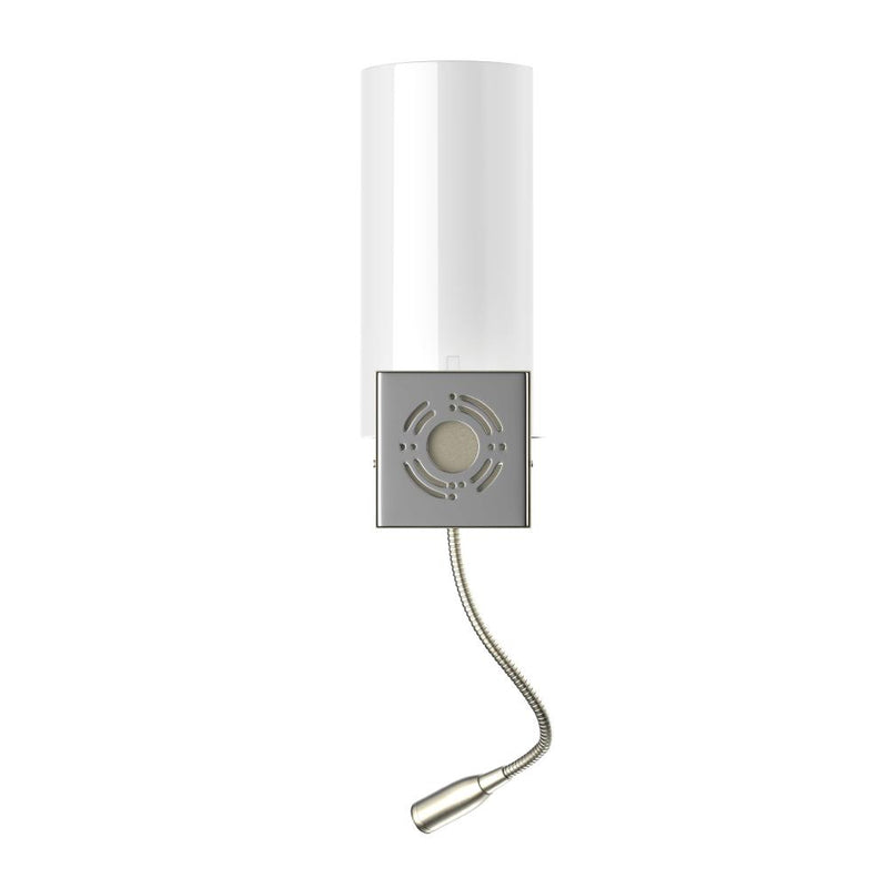 Modern Acrylic LED Sconce Wall Lighting, Brushed Nickel Finish, 1 usb + 1 Switch + 1 outlet