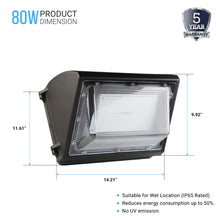 Load image into Gallery viewer, LED Wall Pack 80W 5700K Forward Throw 10,173 Lumens