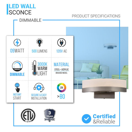 9W Dimmable LED Wall Sconce Light, 3000K (Warm White), Brushed Nickel Finish, 500 Lumens, ETL Listed
