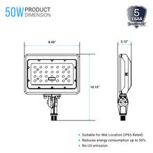 Load image into Gallery viewer, 50W LED Flood Light; 5700K; Knuckle Mount;Bronze