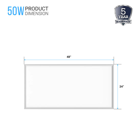 2X4ft LED Panel Light Fixture, 50W, 5000K, 5250 LM, Dimmable With Battery Back-Up (2-Pack)