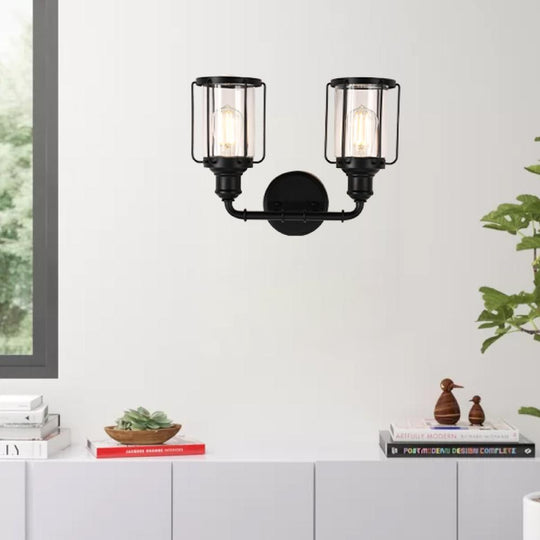 Birdcage Shape Vanity Light Fixture, Matte Black with Clear Glass Shade, E26 Base, For Damp Locations