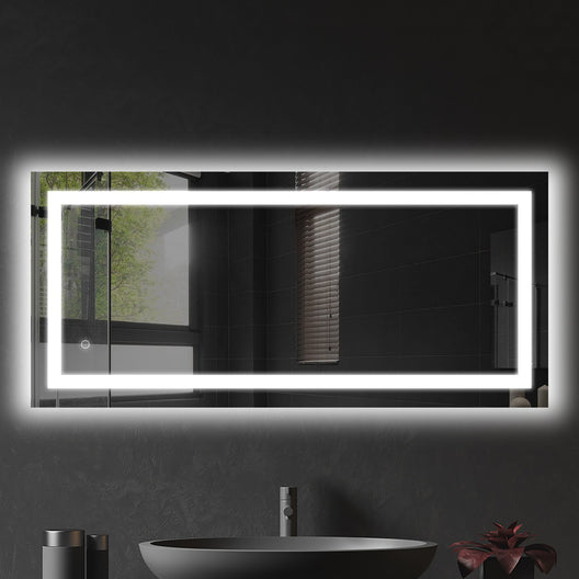 LED Illuminated Bathroom Mirror with Touch Switch Control, Defogger, CCT Remembrance, Backlit/Front, Accord Style, ETL Certified