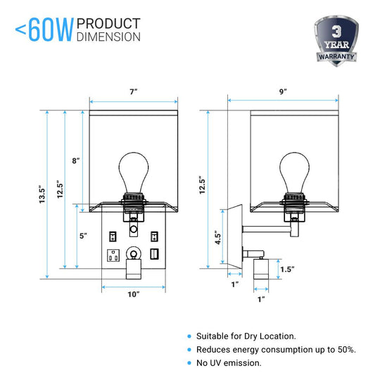 Bedside Wall Sconce Lighting, Black Metal Finish with White Fabric Shade, With LED 1W 1usb+2switchs+1outlet