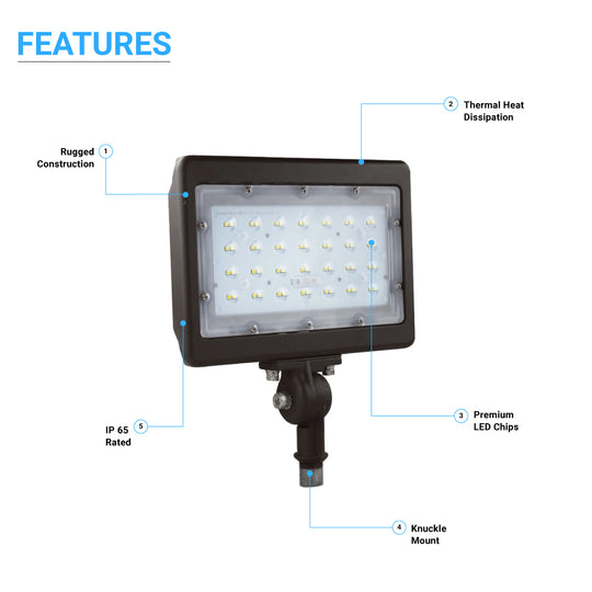 50W LED Flood Light; 5700K; Knuckle Mount;Bronze
