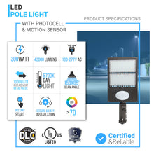 Load image into Gallery viewer, 300W LED Pole Light With Photocell & Motion Sensor ; 5700K ; Universal Mount ; Bronze ; AC100-277V