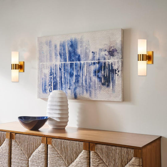 2-Lights Wall Sconce with White Glass Shade, Cylinder-Shape, Brushed Brass Finish