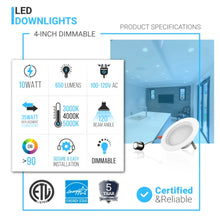 Load image into Gallery viewer, 4 inch Retrofit LED Downlights Fixture / Can Lights, 10W, 650LM, Dimmable Recessed Ceiling Light, CRI 90+