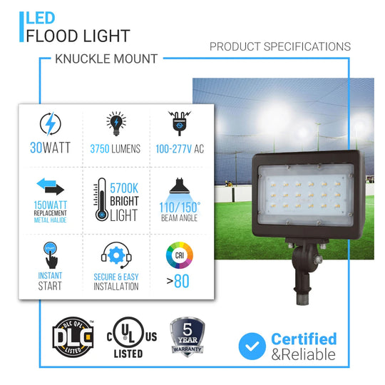 30W LED Flood Light Outdoor Knuckle Mount, 5700K, 3750LM, Bronze, IP65 Rated Waterproof, Bronze