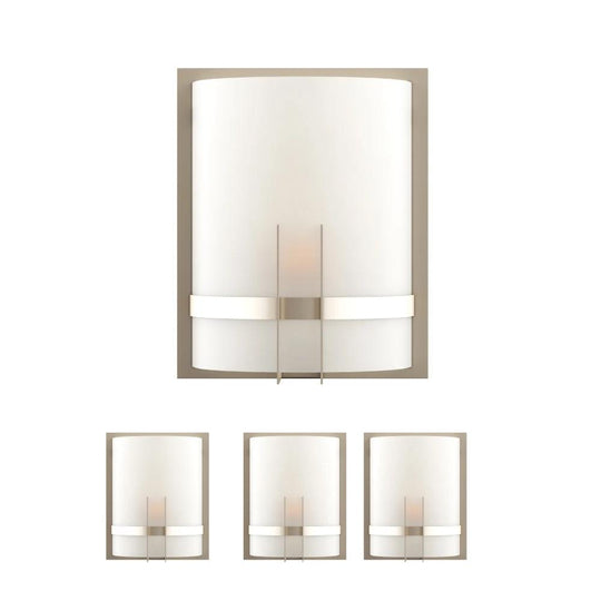 "Decorative Wall Sconces Lighting, Dimension: 9"" W x 12""H x 5""E,  Brushed Nickel Finish with White glass shade"