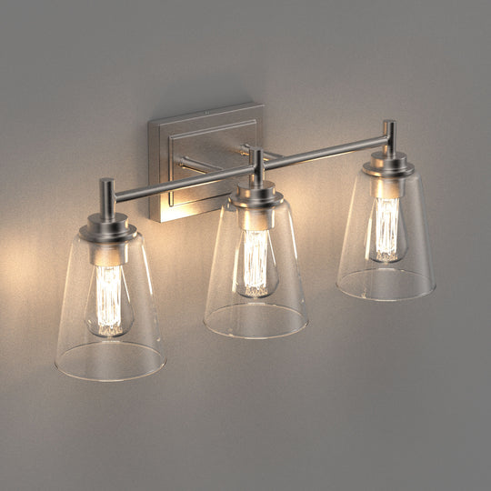 Flared Shape Vanity Lights with Clear Glass Shade, E26 Base, UL Listed for Damp Location, 3 Years Warranty