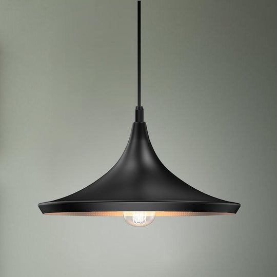 Modern Black hanging light fixture, Trumpet-Shaped, E26 Base, Steel Body, UL Listed